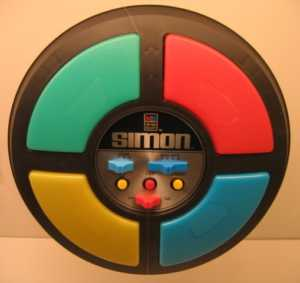 The original Simon handheld game, which sounds much less forgiving of failure than our M257 Simon game