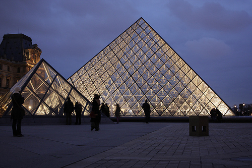The glass pyramid at the Louvre